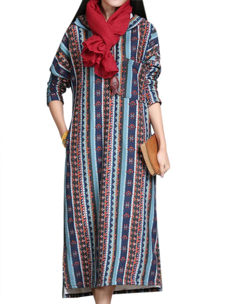 Geometric Patterns Printed Stripe Long Sleeve Hooded Thicken Dress