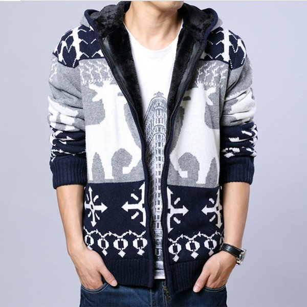 Men's Christmas Style Sweater Slim Thick Deer wool knitted hooded Zipper Cardigan