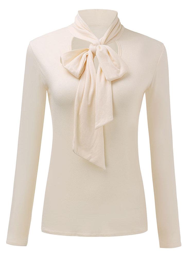 Tie Bowknot Elegant Solid Long Sleeve V-neck Women Blouse