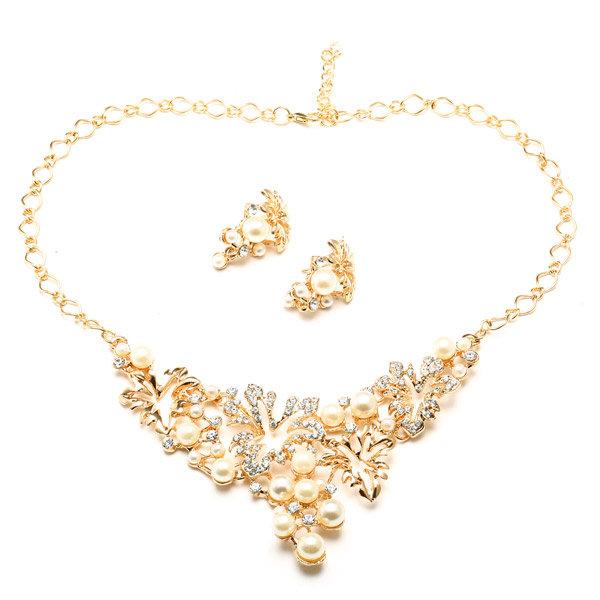 Урожай комплект ювелирных изделий сплава Pearl Rhinestone ожерелье серьги