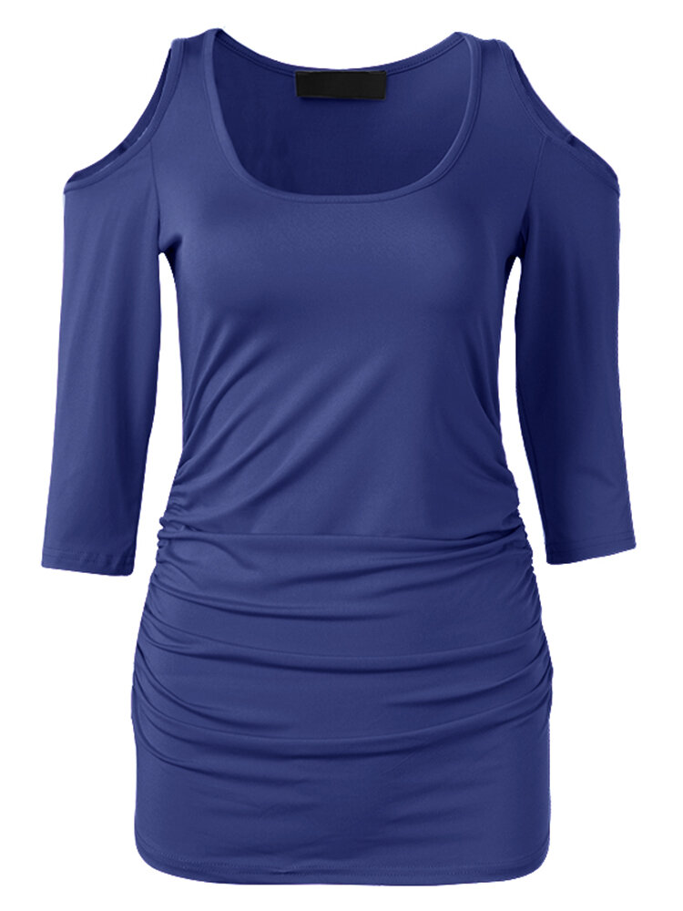Women Casual Cold Shoulder O-neck Bodycon T-shirt