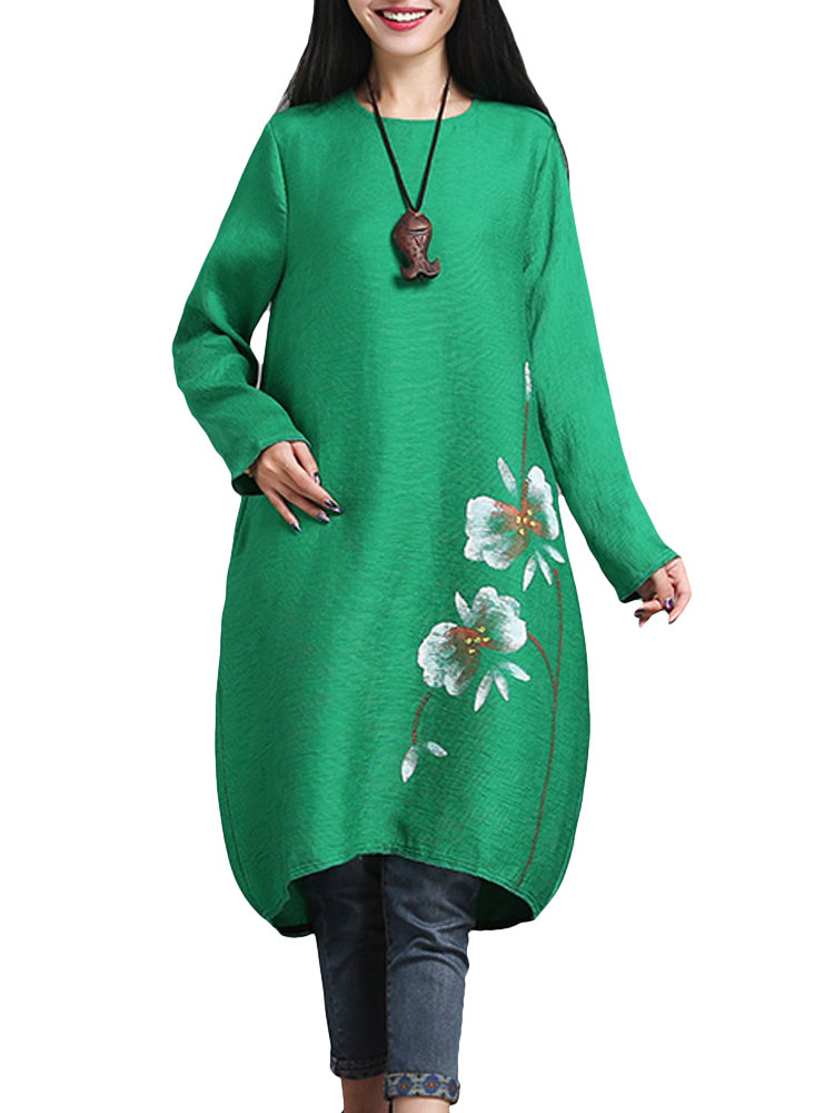Vintage Floral Hand Painted Ethnic Long Sleeve Cocoon Women Mid Dress