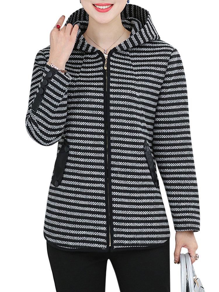 Women Casual Striped Hooded Long Sleeve Zipper Warm Coat