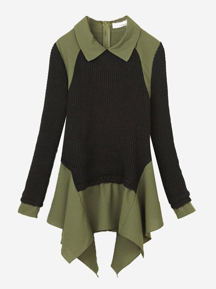 Женщины с длинным рукавом нагрудные плиссе Хем Лоскутная свитер