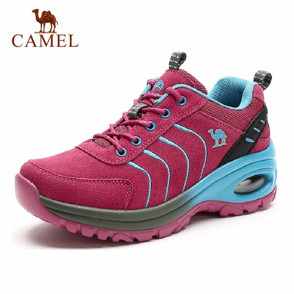 Camel Suede Air Cushioned Shock Absorption Lace Up Outdoor Sport Hiking Shoes