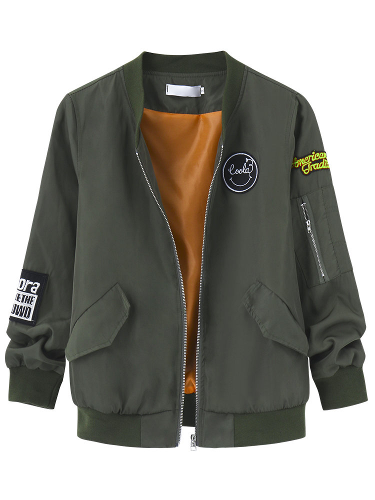 Casual Army Green Cool Girl Letter Printed Women Baseball Bomber Jacket