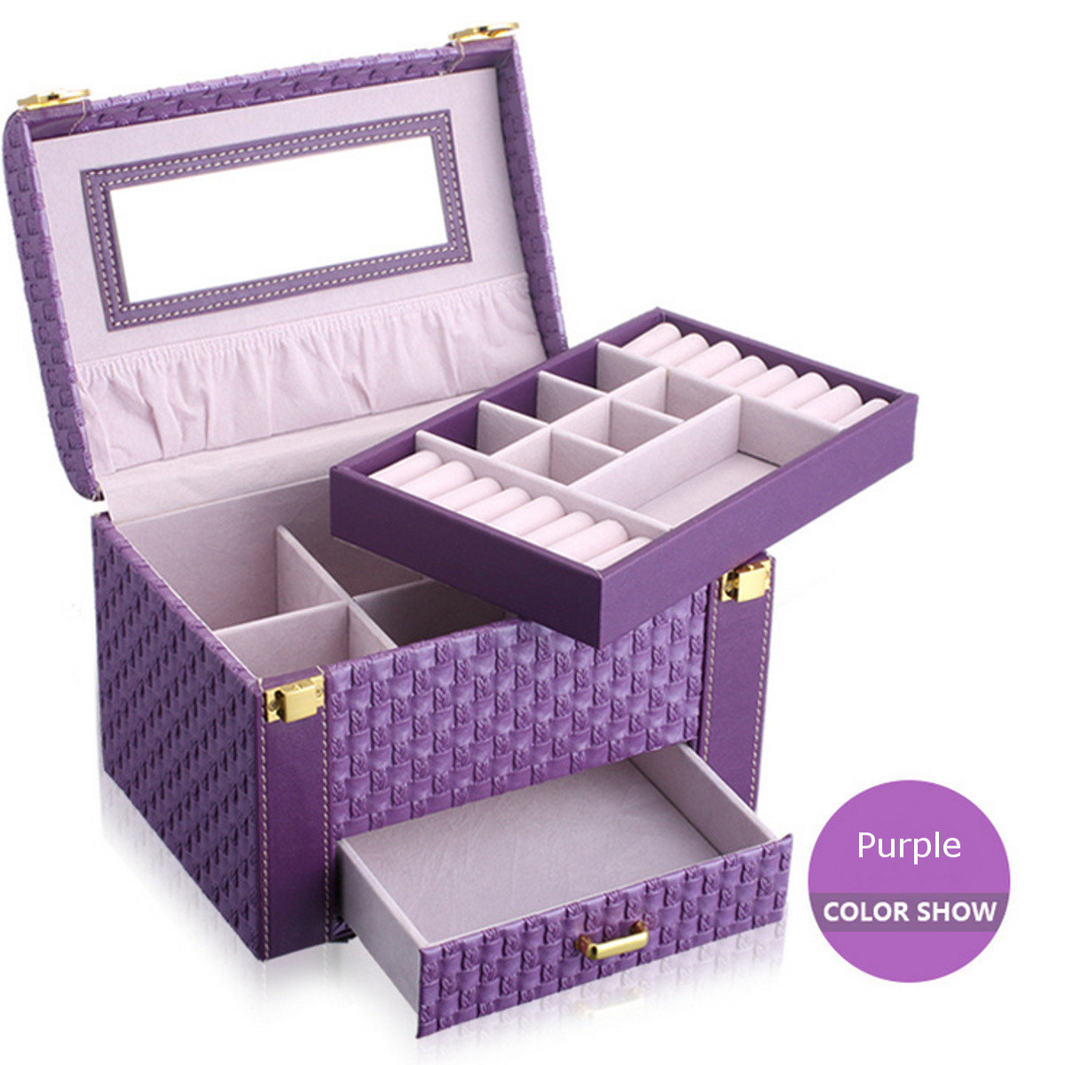 Weave Pattern Leather Cosmetic Case Display Box