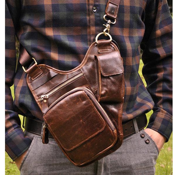 Men Cow Leather Waist Bag Genuine Leather Crossbody Bag