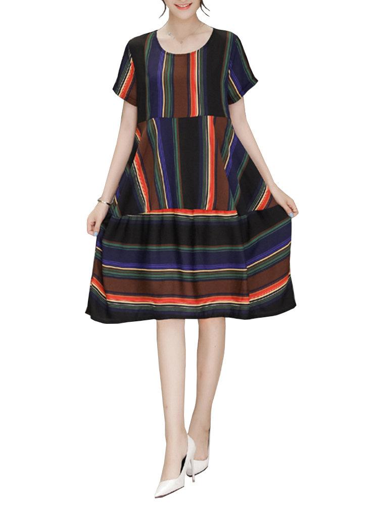 Loose Stripe Patchwork O-Neck Short Sleeve A-Line Dress For Women