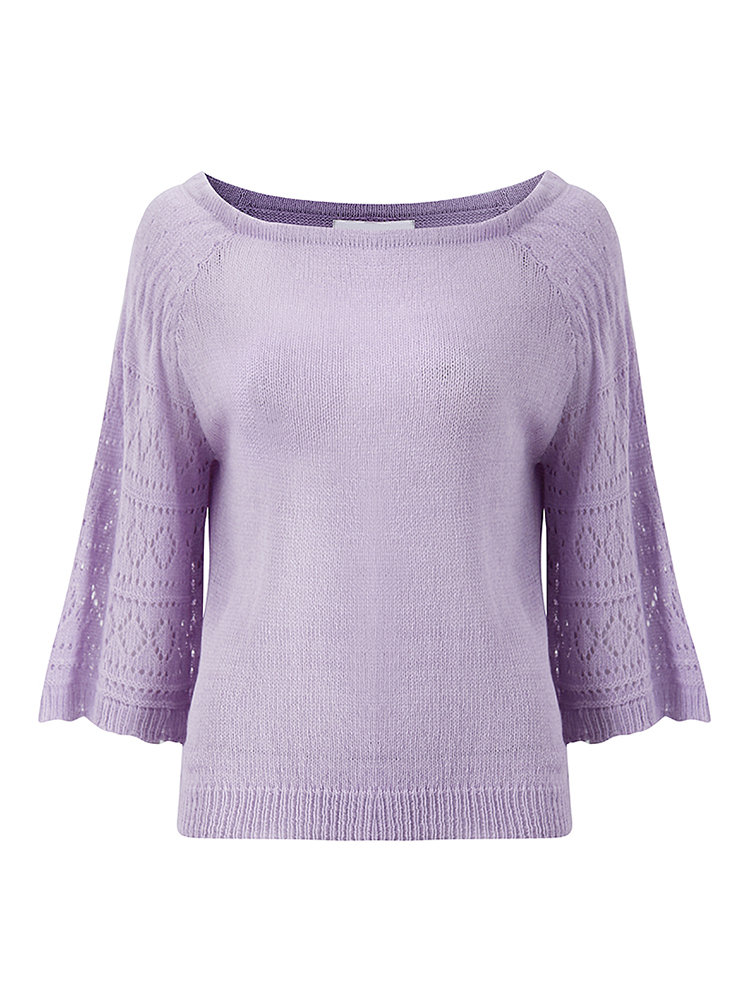 Fashion Loose Women Off Shoulder Horn Sleeve Pure Color Knit Blouse