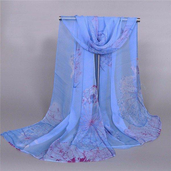 Женщины Шелковый цветок лотоса Печать шарфов Voile Женский Шали