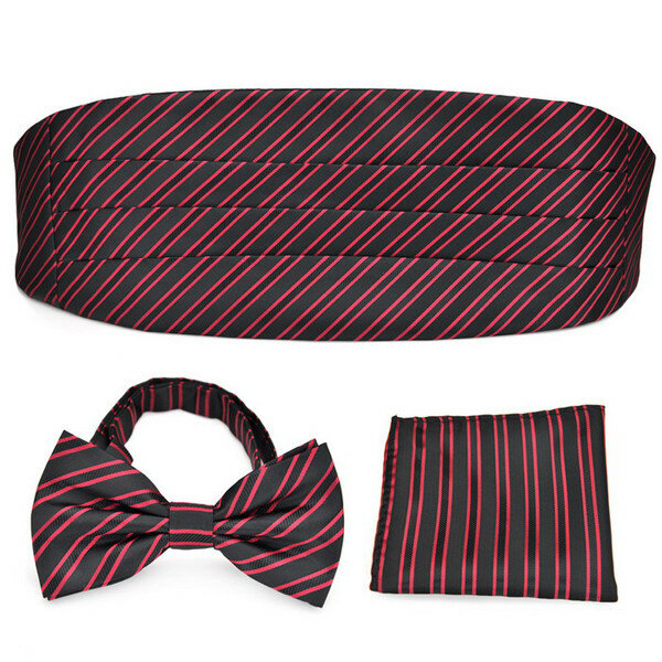 7cm Pensee Male Formal Stripe Neckties Pre-Tied Bow Pocket Square Ties Cummerbund Set