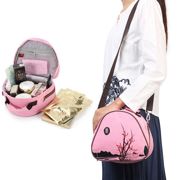 Women Girls Retro Chinese Style Cosmetic Bag Crossbody Backpack
