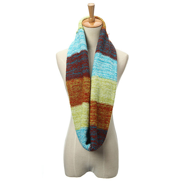 Mix Color Women Winter Warm Wool 2 Circle Neck Long Shawl Cowl Scarf