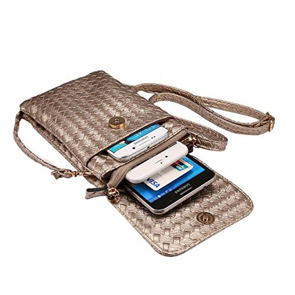 Universal 6'' Multifunctional Leather Mini Crossbody Phone Bag with Shoulder Strap For IPhone Samsun