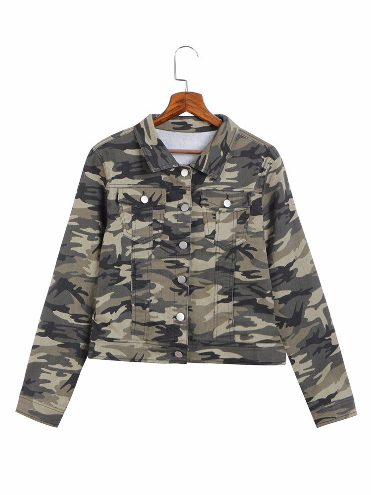 Women Casual Camouflage Print Turn Down Collar Jacket