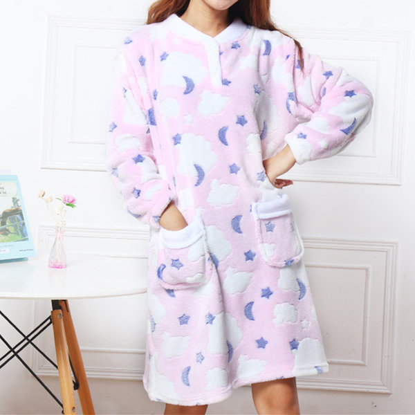 Comfy Flannel Thicken Nightgown  Winter Keep Warm Jacquard Nightdress For Women
