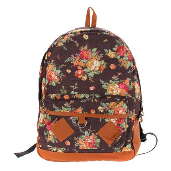 Women Pastoral Style Canvas Flower Backpack