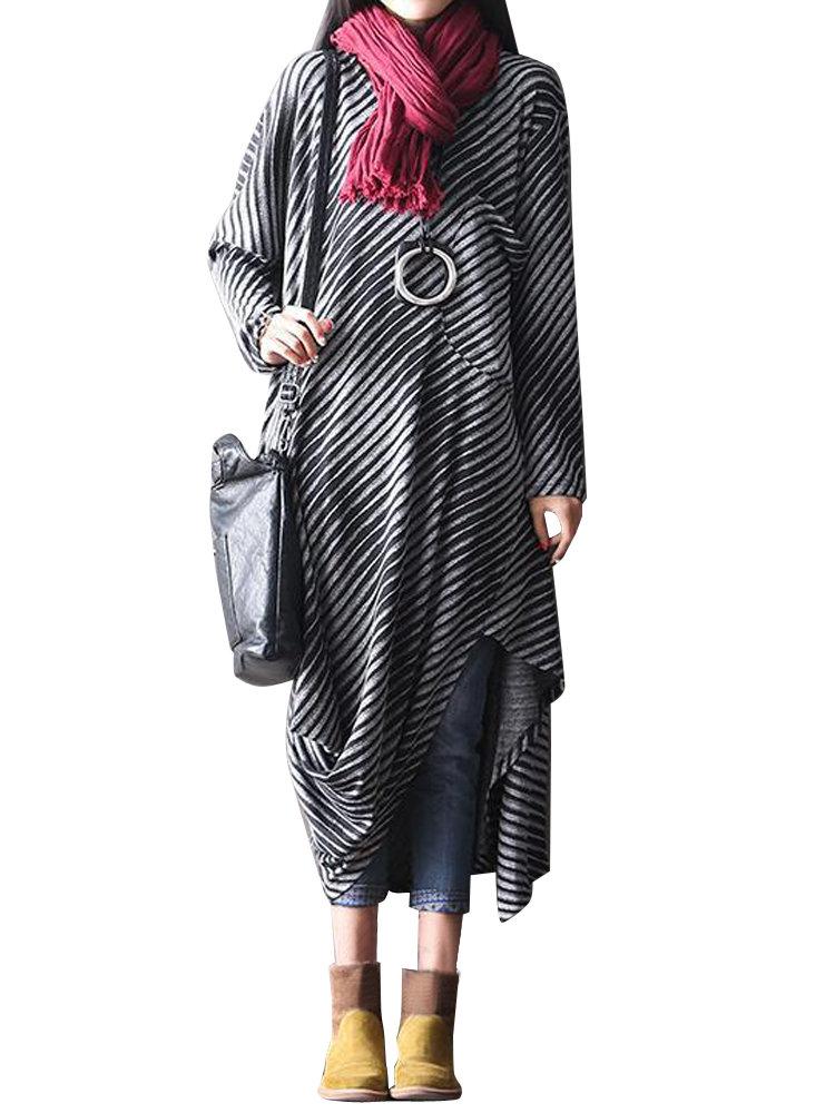 O-NEWE Fashion Striped Batwing Sleeve Round Neck Asymmetrical Dress For Women