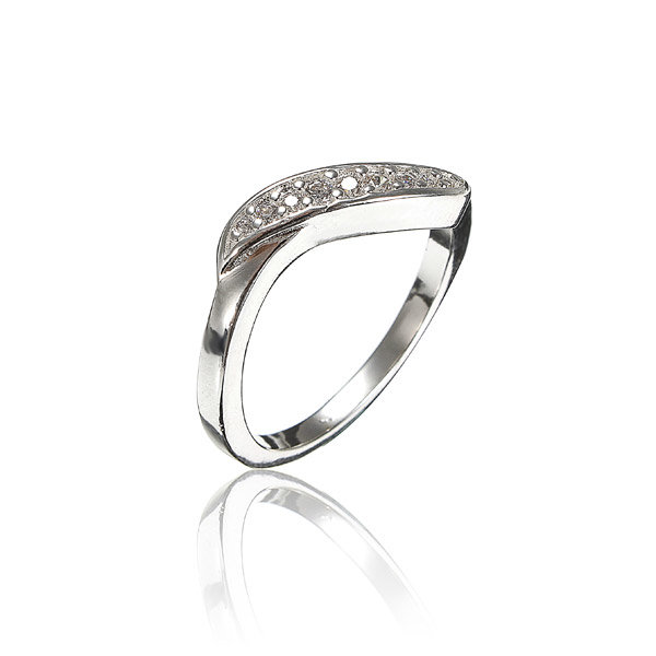 925 Sterling Silver Plated Rhinestones US Size 8 Ring