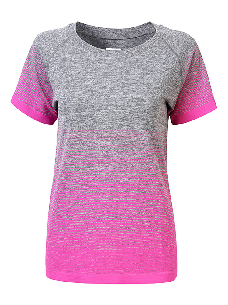 Casual Sport Gradient Color O Neck Short Sleeve Yoga Blouse