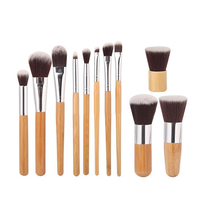 Manga 11 шт Bamboo ручки набор кистей для макияжа Тени для век Румяна Корректор Кисти