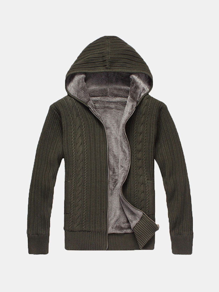 Winter Knitting Cashmere Lined Thick Warm Hooded Cardigan For Men