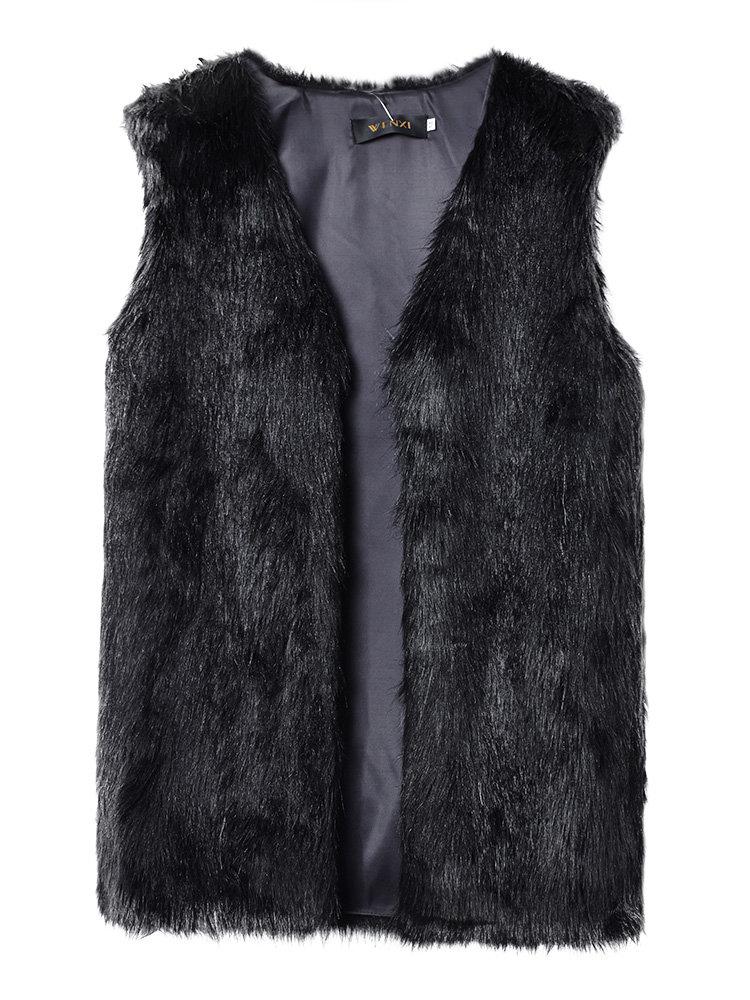 Casual Faux Fur Sleeveless Medium Long Women Vest Jacket Outwear