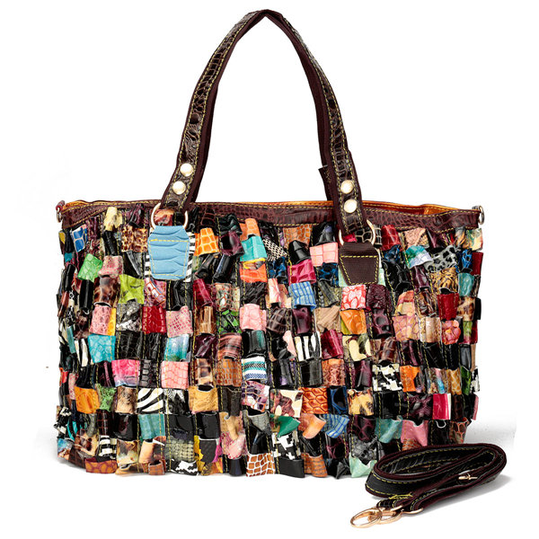 Women Retro Colorful Genuine Leather Handbags CasUal Elegant Shoulder Bags Leisure Crossbody Bag