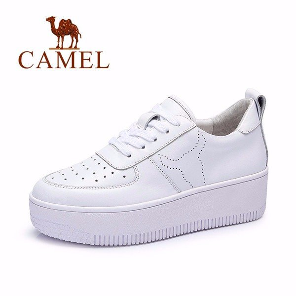 Camel White Leather Howllow Out Breathable Lace Up Platform Sport Casual Shoes
