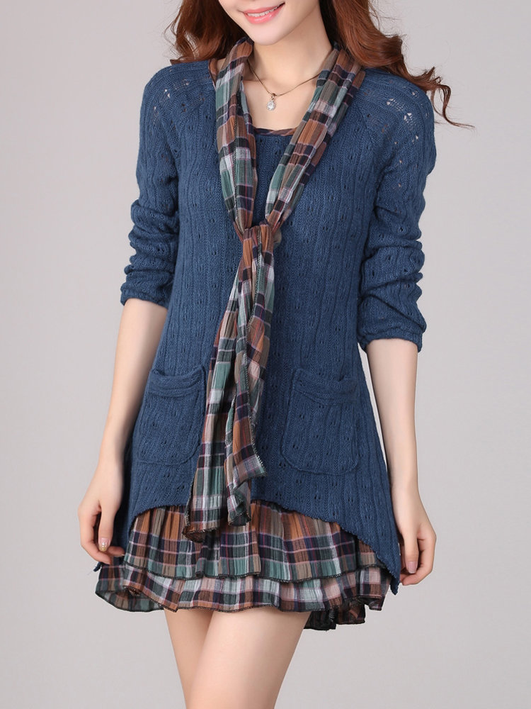 Casual Women Plaid Patchwork Fake Two-Piece Sweater Mini Dress