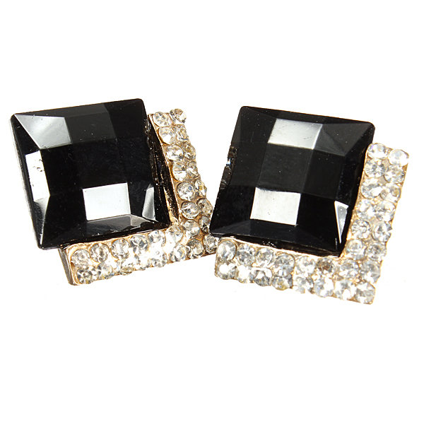 Black Square Crystal Rhinestone Ear Stud