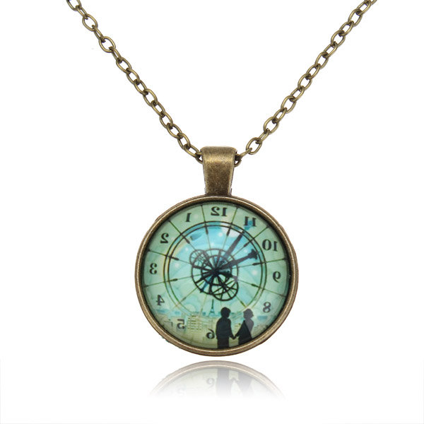 Hugo Inverted Clock Glass Cabochon Pendant Necklace