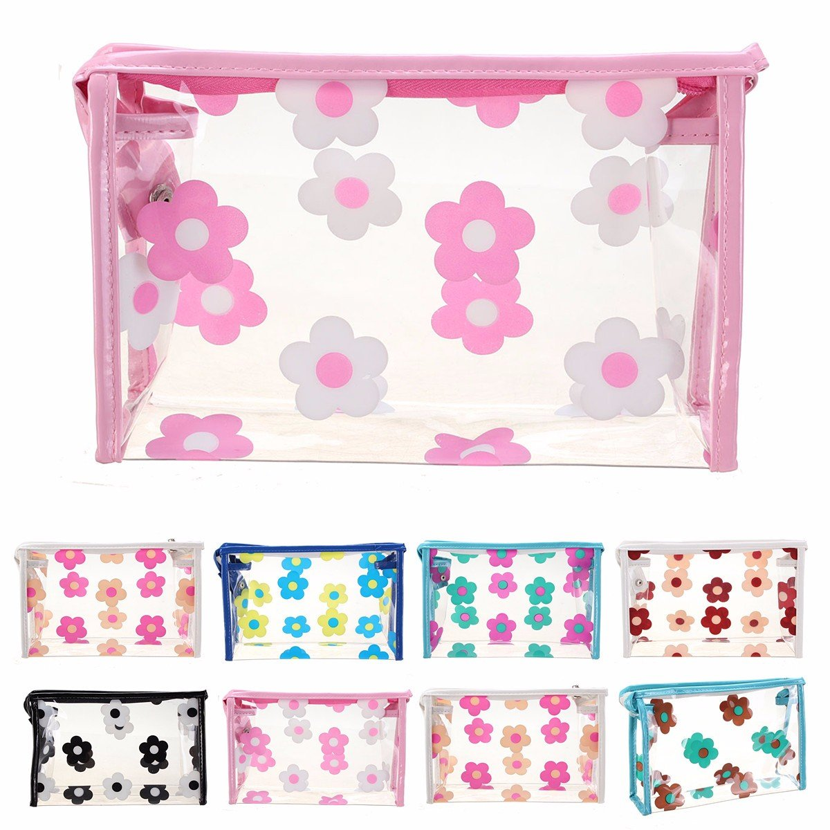 Transparent Flowers Waterproof Makeup Bag PVC Travel Zipper Case