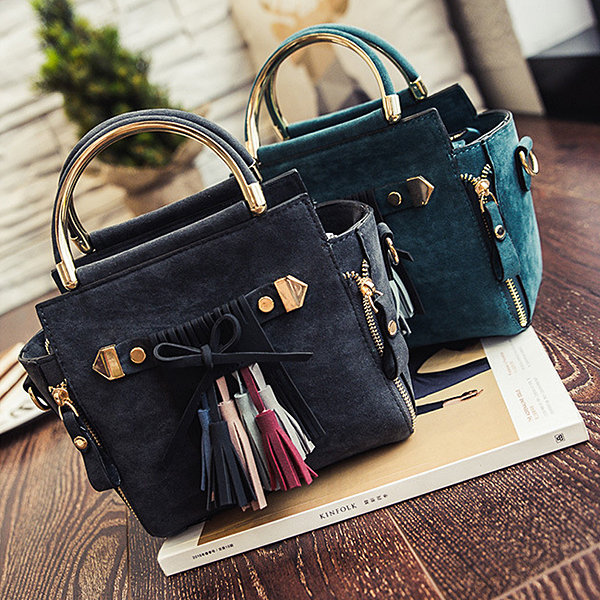 Women Stylish Handbag Tassel PU Leather Tote Shoulder Bags Crossbody Bags