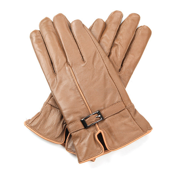 New Style Women Winter Warm Thicken Gloves Sheepskin Leather Buckle Wind Proof Mittens