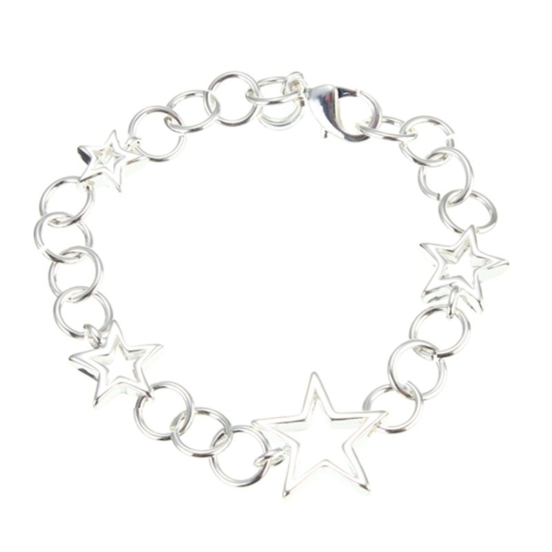 Hollow Stars Silver Plated Chain Bracelet