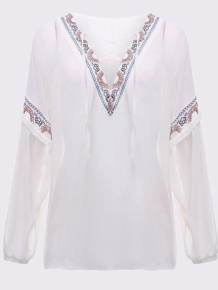 Урожай Женщины вышивки Узелок Лоскутная Puff рукавом Свободные шифон блузка