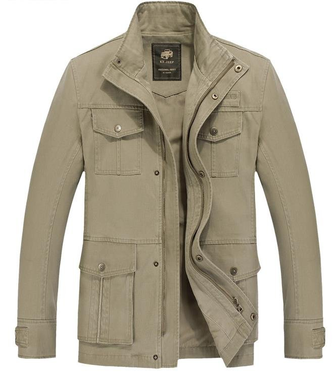 Military Style Outdoor Thicken Solid Color Multi Pockets Stand Collar Jacket for Men