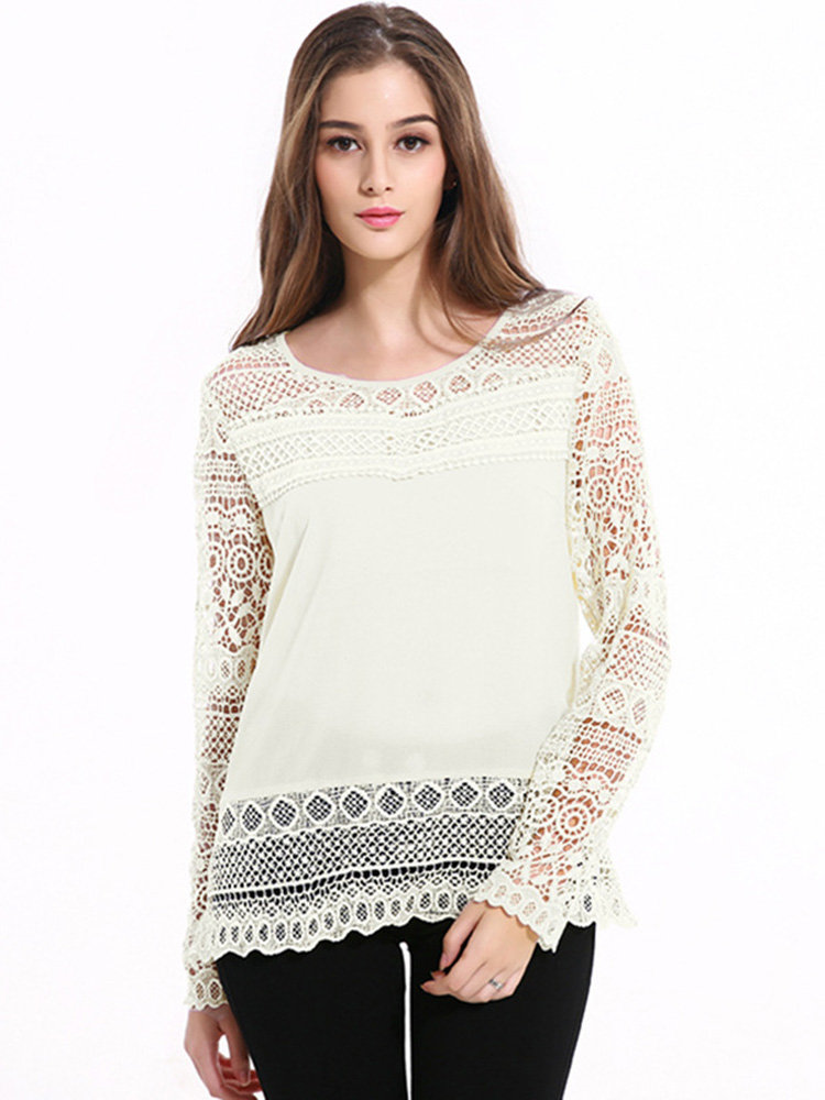Lztlylzt Women Casual Lace Hollow Loose O-neck Long Sleeve Tops