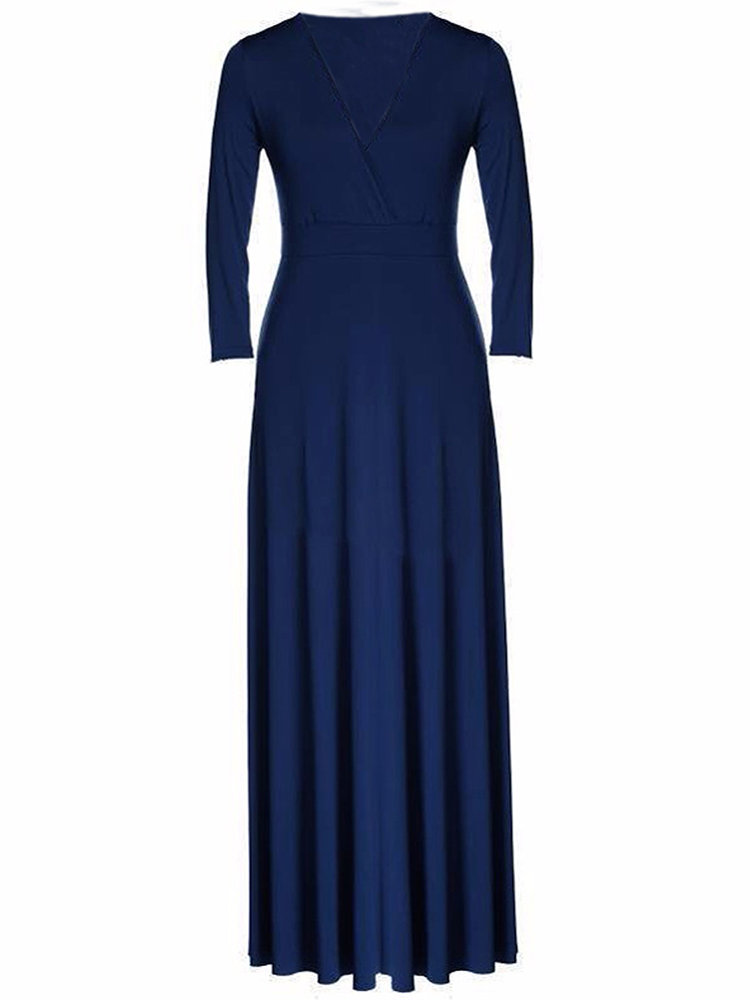 Sexy Women V Neck Solid Pleated Maxi Evening Party Dress