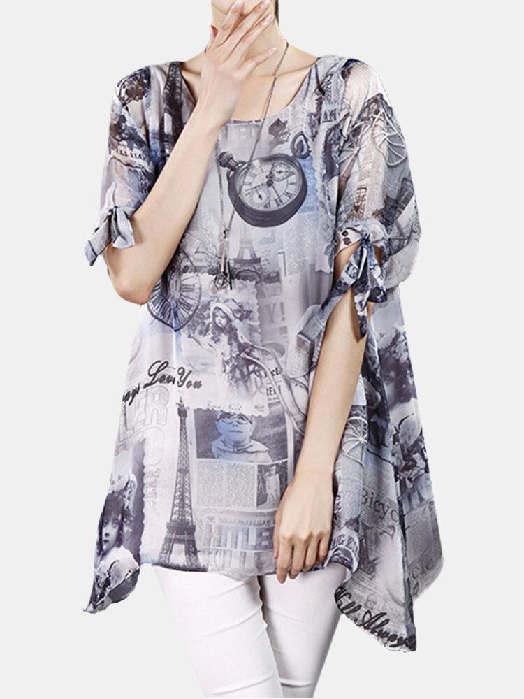 O-NEWE Women Elegant Loose Printed Bow Cuff Irregular Blouse