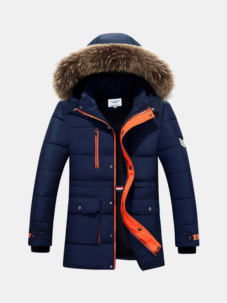 Winter Casual Thicken Warm Detachable Hood Collar Fur Padded Jacket for Men