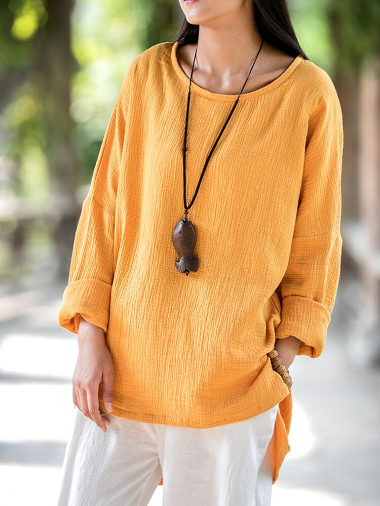 Gracila Women Chinese Style Long Sleeve Pure Color O-Neck Irregular Shirts