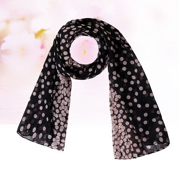 Women Wave Point Pattern Vintage Long Soft Chiffon Scarf Wrap Shawl Stole Scarves