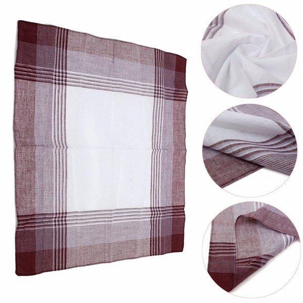 Men Women Cotton Plaid Pocket Square Hanky Handkerchief