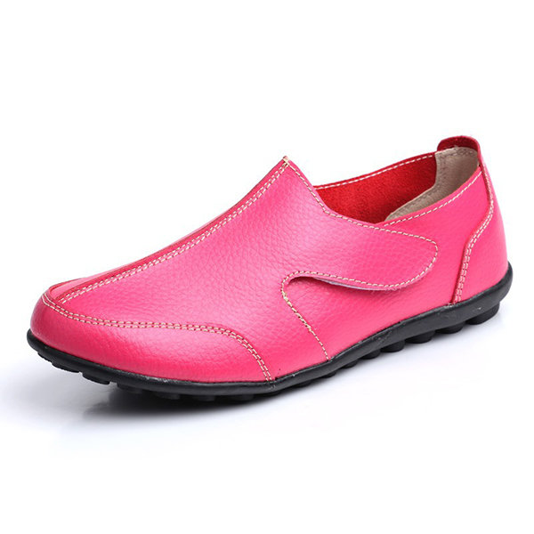 Leather Pure Color Hook Loop Brtish Style Soft Flat Shoes