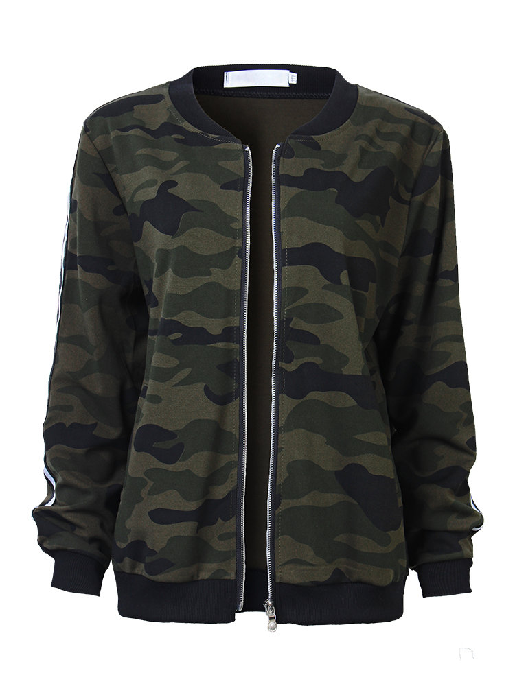 Fashion Casual Loose Camouflage Long Sleeve Zipper Coat For Women