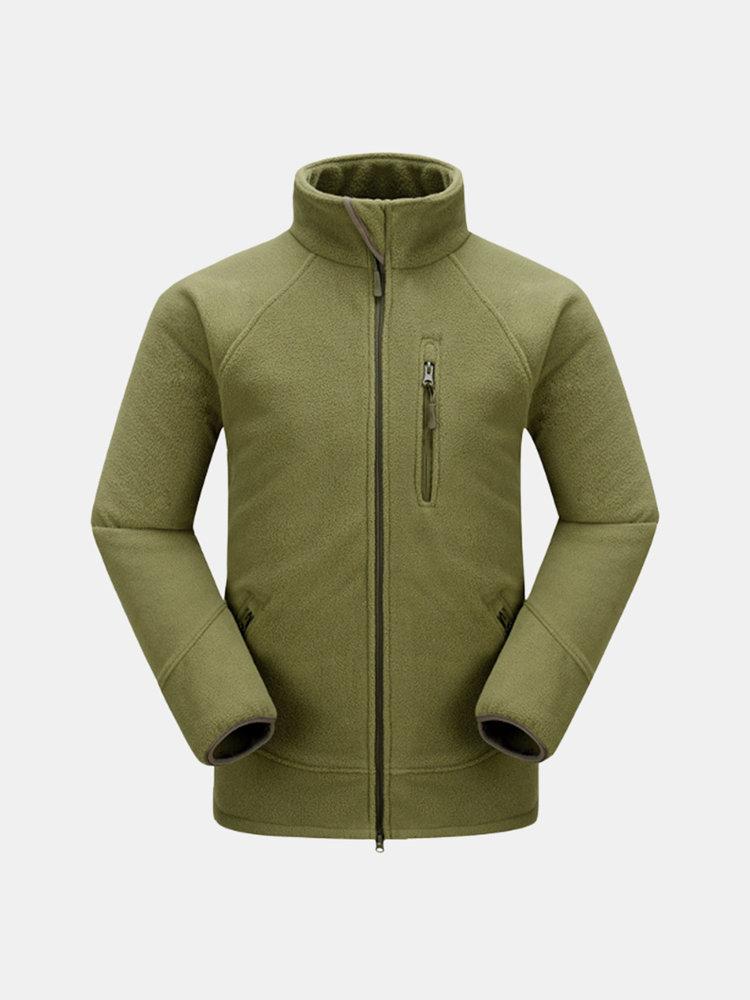 Зима Спорт на открытом воздухе руно Толстые Multi-карманный стенд воротник пальто для мужчин
