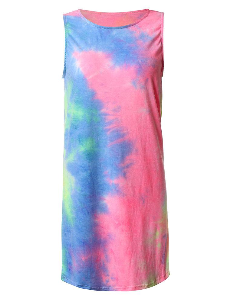Сексуальные женщины рукавов Tie-окрашенных Акварель печати мини-платье